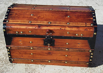 Charmant Unusual 1870u0027s Round Top Trunk Unusual Trunk From The 1870s Period. Thick,  Dark Pine With Hardwood Slats, Original Bottom Rollers, Lock With KEY, ...